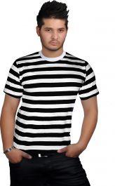 Men Black & White Stripe T-Shirt