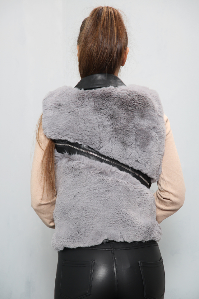 Zip Faux Fur Gilet Grey